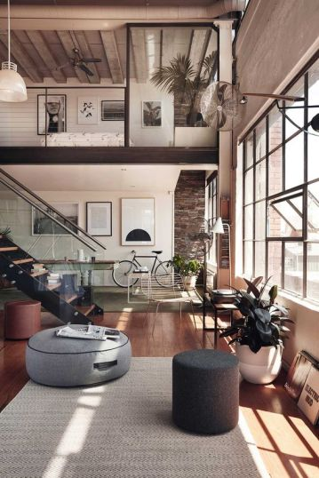 Loft with high ceiling with large windows ( Photo from Pintest)