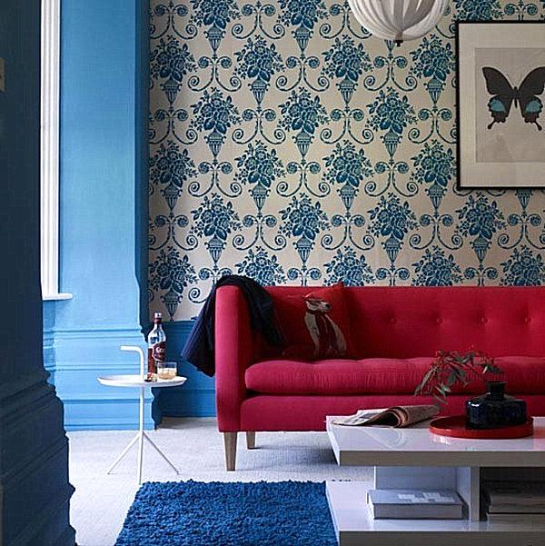 blue-damask-living-roomRED Pastel Interior Design that takes the cake
