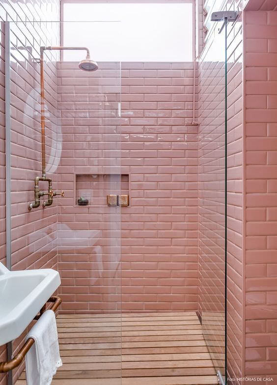millennial-pink-bathroom-shower Pintest