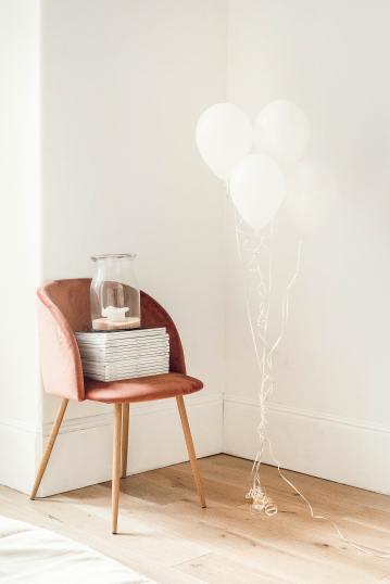 Vel vet Chair in Salmon Color