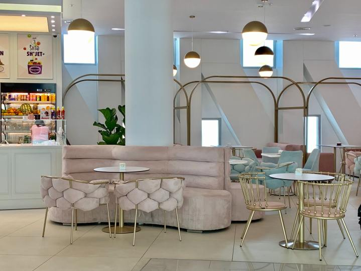 Velvet Chairs in Pale Pink with Gold Tone Metal Legs